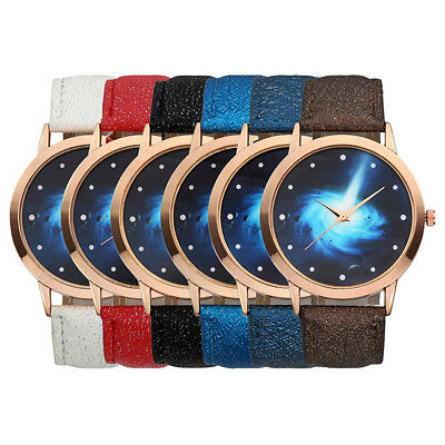Mens Womens Quartz Universe Star Cloud PU Leather Strap Fashion Wrist Watch Gift
