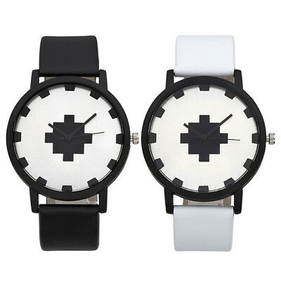 Unisex Fashion Cool PU Leather Strap White Dial Quartz Movement Wrist Watch Gift