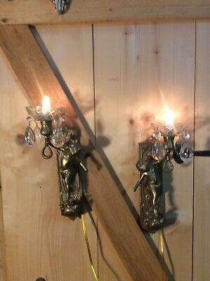 Pair Of Vintage Cherub Heavy Brass Electric Wall Sconces Glass Prisms Angels J