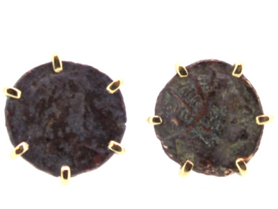 Rare antique coin earrings in 18k yellow gold