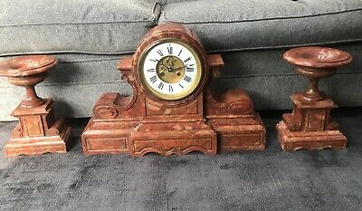 HUGE ANTIQUE FRENCH ROUGE MARBLE STRIKING CLOCK & GARNITURES @ 1900 Magnificent