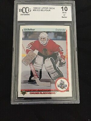 Ed Belfour 1990 1991 Upper Deck UD Rookie RC Card Chicago Blackhawks #55 Bccg 10