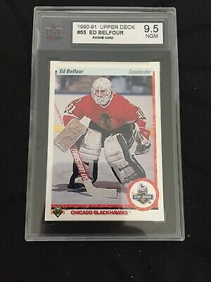 Ed Belfour 1990 1991 Upper Deck UD Rookie RC Card Chicago Blackhawks #55 Ksa 9.5