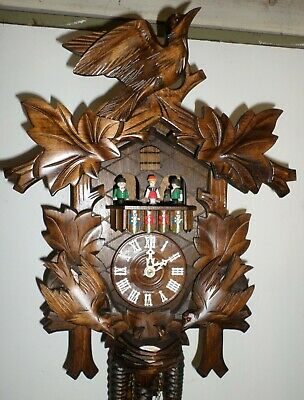 Breathtaking German Black Forest Birds & Nest Swiss Music Dancers Cuckoo Clock!