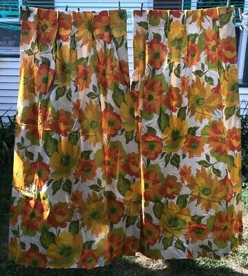 Vtg Pair 60-70's Retro Yellow Orange Green Flowers Lined Curtain DRAPES 48x63