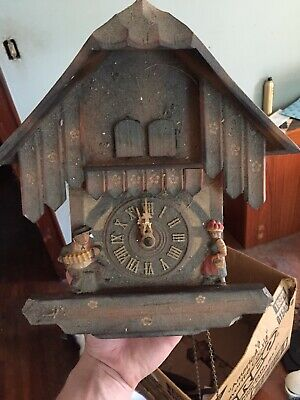 Vintage W. German Musical Chalet Motion Cuckoo Clock