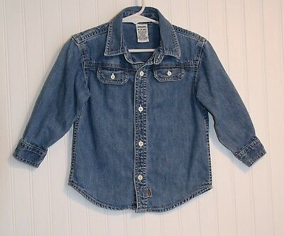 Boy's or girl's 18 to 24 months blue denim long-sleeve shirt by Gymboree
