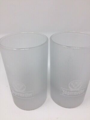 Jagermeifter Lot Of 2 Frosted Shot Glasses Bar Cave Liquor Jagermeister