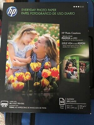 HP Everyday Photo Paper Glossy 8.5 x 11 50 Sheet for all Inkjet Printers sealed