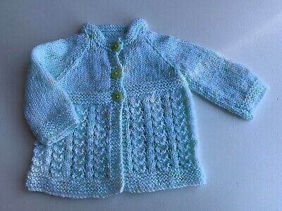 Hand Knit baby matinee jacket.Brand New.Softest mint tones.3 button close.Baby .