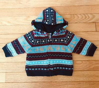 NWT Gymboree Sweater Fleece Fair Isle Hoodie Jacket Boy's size 3-6 Month