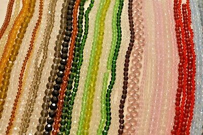 10 Extra long Strands Crystal, Glass Beads - Various Colors & Size - ZC100