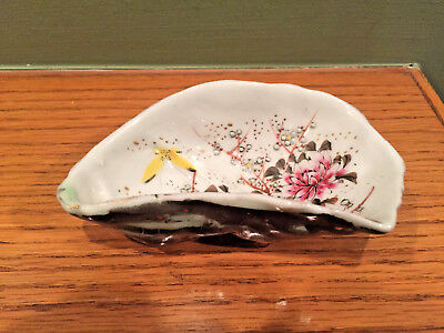 Vintage Hand Painted Decorated Porcelain Oyster Shell Trinket Dish