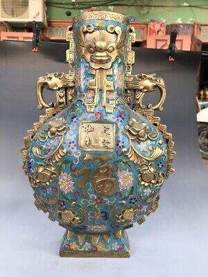 Ancient Chinese cloisonne large vase can be collected pure handpainted exquisite