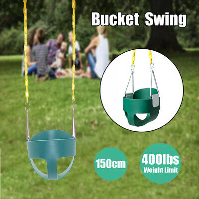 Children Outdoor High Back Full Bucket Toddler Swing Seat & Plastic Coated Chain