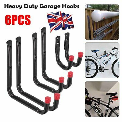 6Pcs Heavy Duty Storage Hooks Garage Tools Garden Shed Wall Mounted