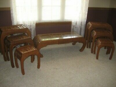 Antique Hand-Carved Japanese Tables, Set of 7 Tables, One Coffee, Six Nesting