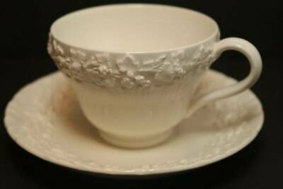 Footed Cup & Saucer Set Cream Color on Cream Color Shell Edge WEDGWOOD Grapevine