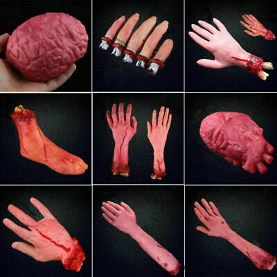 NEW Halloween Props Fake Bloody Hand Prank Scary Severed Latex Body Parts Decors