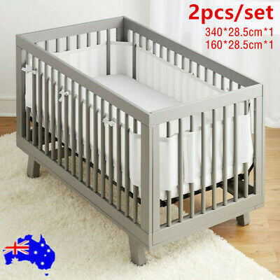 2x Soft Air Mesh Crib Liner Wrap Nursery Cot Bed Bumper Set Baby Easy Breathable