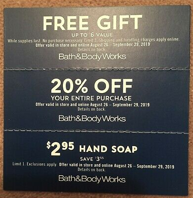 3 Bath and & Body Works Coupons $6 Gift, 20% OFF, $2.95 Hand Soap, 8/26-9/29