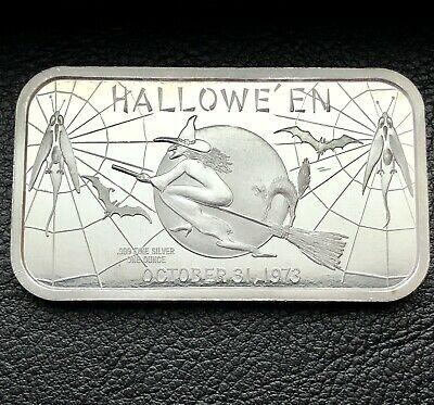 Happy Halloween Witch Flying on Broom 1 oz .999 Silver Art Bar Madison Mint