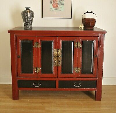 Antique Black & Red Oriental Chinese Elm Cabinet / Sideboard / TV Stand