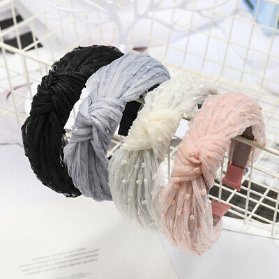 Women Girl Vintage Bohemian Lace Knot Headband Knotted Hairband Hair Accessor HT