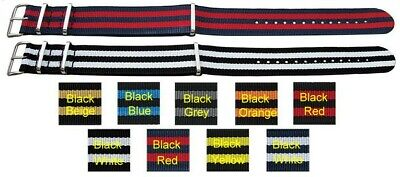 Fabric Military Army Watch Strap 4-Stripe STYLE 18mm 20mm 22mm