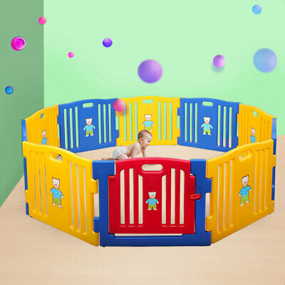 Baby Playpen Kids 10 Panel Safety Play Center Yard Home Indoor Outdoor Pen Fence