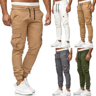 Mens Elasticated Cargo Combat Work Lightweight Trousers Drawstring Casual Pants