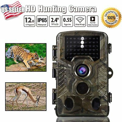 H-801 12MP 1080P HD Video Hunting Camera Night Vision IR Trail Cam Trap US BE