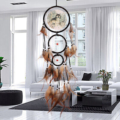 Native American Dream Catcher with Feather Wolf Wall Hanging Home Decor Gifts US
