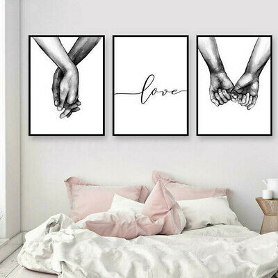 Art Love Holding Hands Black & White Picture-Canvas Prints Painting Wall-Decor