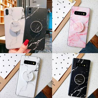 For Samsung A10 A50 A70 S9 S10 Plus Marble Case With Pop Up Socket Phone Holder