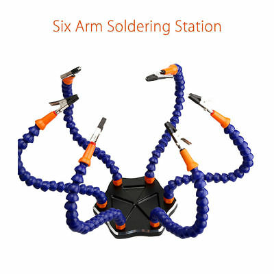 Third Hand 6-Arm Soldering Helping Tool Welding 6xClips Aluminum Alloy Base Kit
