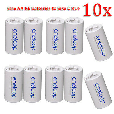 7 Pcs Sanyo Eneloop Battery Adaptor Converter Case AA R6 to C R14 C-Size