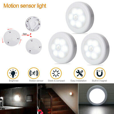 Indoor Outdoor 6* 6LED Motion Sensor Night Light Battery Operated Stairs Hallway