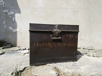 Antique Metal Tin Chest Box with Original Painted Writing