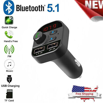 Bluetooth In-Car Wireless FM Transmitter MP3 Radio Adapter Car Kit 2USB Charger*