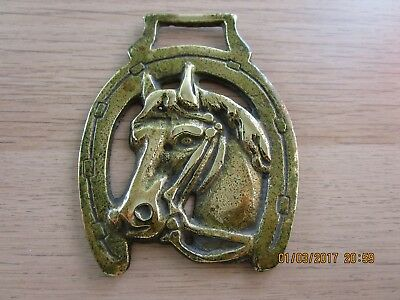 Vintage/Antique Horse Harness Brass horse's head framed in a lucky horse shoe 4.