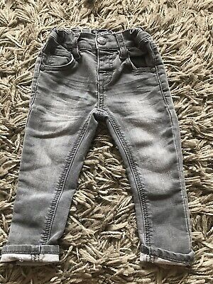 Next Baby Boys Grey Skinny Legs Jean 6-9 Months Adjustable Waist Fade Soft Denem