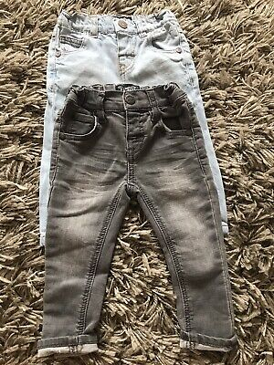 Next Baby Boys Grey Blue Skinny Legs Jean 6-9 Months Adjustable Waist Fade Soft