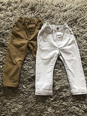 Next Baby Boys Light Grey Tan Cargo Chino Trousers Bottoms 12-18 Months X 2