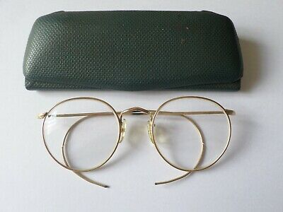 Antique circa mid 20th century Bi Focal spectacles in case stamped ALGHA 12KTG