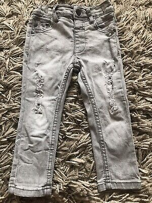 Next Baby Boys Light Denim Grey Skinny Legs Jeans 12-18 Adjustable Waist