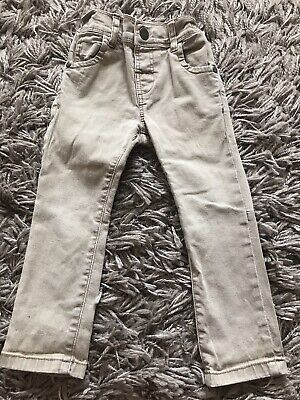 Next Baby Boys Light Denim Beige Skinny Legs Jeans 12-18 Adjustable Waist