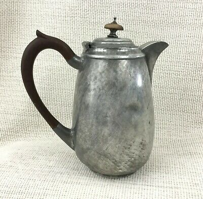 Arts and Crafts Pewter Jug Coffee Pot Hand Beaten Hammered Vintage Metal