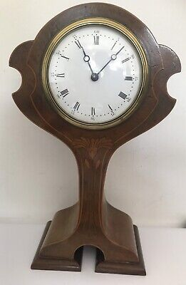 Superb Antique Clock Art Nouveau inlaid stringing Mantle Clock C.1900