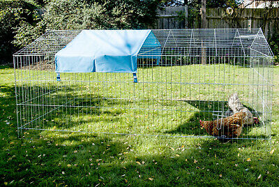 Large Pet Pen Cage Metal Outdoor Chicken Rabbit Run Hutch Covered Roof Folding